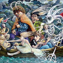 Justin Pearson The Decent of the Gods on the River Styx 125 x 83 cm Oil on Board 2012