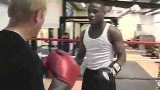 Floyd Mayweather demonstrates his boxing defensive skills